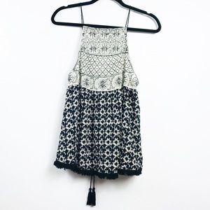 Anthro Paper Crane Embroidery Fringe Tassels Top L
